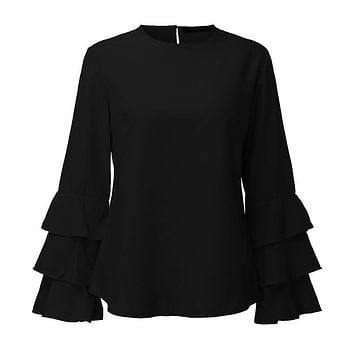 Women Spring Ladies Elegant Blouses Shirts O 3/4 Sleeve Solid Blusas Tops Casual Loose Pullover Plus Size