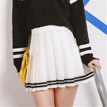 Drop ship high waist ball pleated skirts Mori girls stripe a-line sailor skirt Cosplay