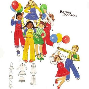 Vintage Child Sewing Pattern Overall Jumper Flare Skirt Betsey Johnson