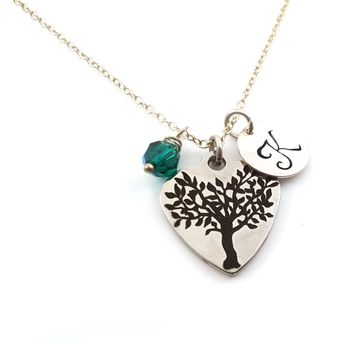 Tree of Life Family Charm Personalized Sterling Silver Necklace
