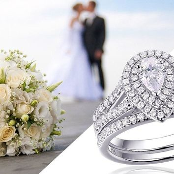 2Pcs Wedding Ring Set Classic Jewelry Pear Shape 1.2 Carats AAA CZ 925 Sterling Silver Rings