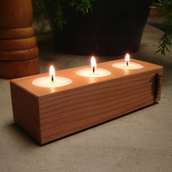 Rustic Refined Candle Holder from Old Growth Reclaimed Fir