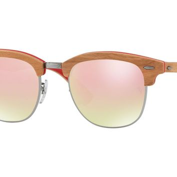 Ray Ban Clubmaster - RB3016 121970 51 - Wood/Red Frame w/ Flash Gradient Lens