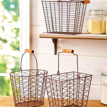 Set of 3 Farmhouse Style Baskets Storage Organize Display Metal Rustic Country