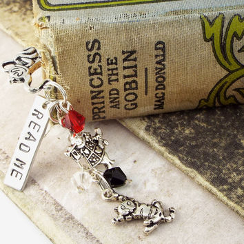 Read Me Alice in Wonderland Teapot Beaded Bookmark with White Rabbit and Cheshire Cat Charms, Hand Stamped