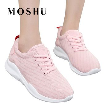 Fashion Sneakers Women Lace Up Casual Shoes ladies Air Mesh Trainers Basket Femme Wedges Ladies Canvas Shoes