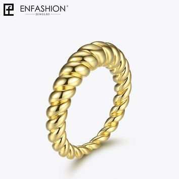 Enfashion Pure Form Twist Rings For Women Gifts Gold Color Copper Wave Men Ring Fashion Jewelry Bague Anillo Jewellery RF184005