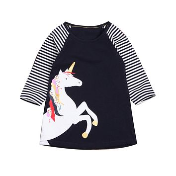 2017 Kid Girls Cotton Dress Cartoon Unicorn Striped Girls Princess Dress Long Sleeve Party Dresses Christmas Costume