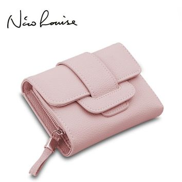 Women Compact Trifold Wallet With Flap Closure