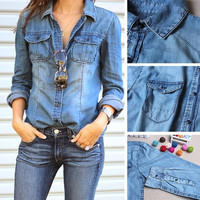 Women Blouse Long Sleeve Casual Denim Shirt Slim Cotton Jeans Shirts Women Shirts 4903 = 1930079556