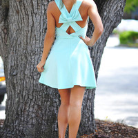 Breakfast At Tiffany's Bow Dress: Teal/Black | Hope's