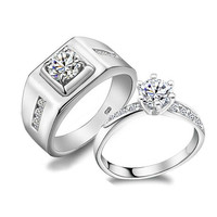 2PCS 1.3+0.65 Carats Platinum Engagement rings,couple rings,wedding bands,lovers rings,platinum promise rings,his her rings, matching rings
