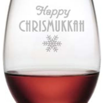 Happy Chrismukkah Stemless Wine Glass - Set of 4