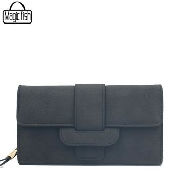 Fashion Long Style Matte Leather Simple Women Wallet Vintage Lady Clutch Women Wallets Female Purses Leather Wallet Lady C2255/l
