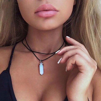 Black Leather Choker with Opal Crystal