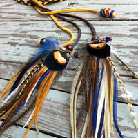 Rad mustard cobalt blue and brown feathers and braided leather headband by Bdii