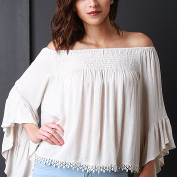 Off-The-Shoulder Bell Sleeve Peasant Blouse