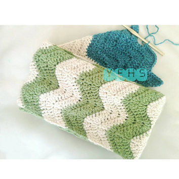 Chevron infinity scarf for women with green and acadia