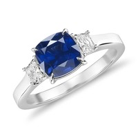 Sapphire and Diamond Three-Stone Ring in 18k White Gold (1.42 ct.) | Blue Nile