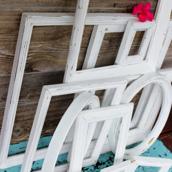 Vintage Shabby Chic  Frames , Wall Gallery Collection of 12 , Chippy White for Paris Apartment Decor & Wedding Decoration