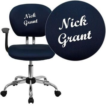 Personalized Mid-Back Navy Mesh Swivel Task Chair with Chrome Base and Arms