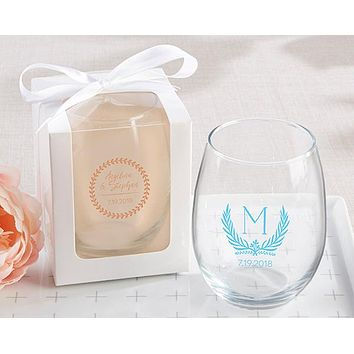Personalized 15 oz. Stemless Wine Glass - Botanical Garden
