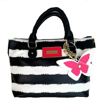 Betsey Johnson Purse XBODY PINCH SATCHEL BAG - STRIPE
