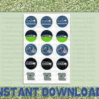 """Seattle Seahawks - 12th Man - Printable Bottlecap Images - Instant Download 1"""" circles - 15 images - NFL - NFC West"""