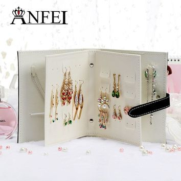 ANFEI New Design Jewelry Boxes And Packaging Pu Leather Stud Earrings Collection Book Creative Jewelry Display Jewellery Gift