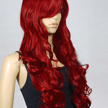 Red Curly Heat Resistant Long Halloween Wig