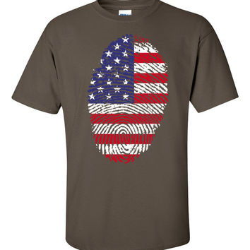 USA Fingerprint Flag Short sleeve t-shirt - S-5XL