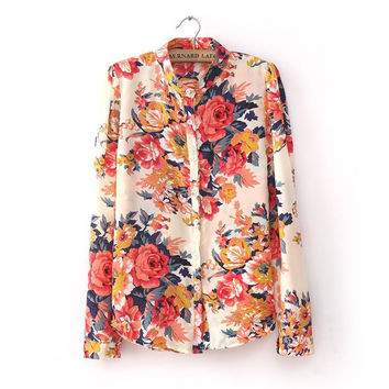 Fashion Summer Chiffon Vintage Floral Print flower Pattern Blouse Women Long Sleeve Shirt Tops blouses Plus Size S-XL