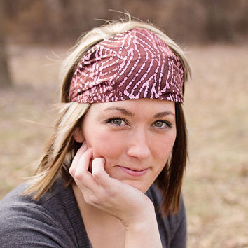 SMALL Batik Headband, Pink Head Wrap, Cotton Headwrap, Hair Accessories for Girls (Item 4141) BT