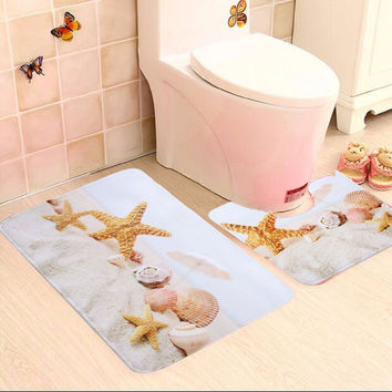 2 Piece Bathroom Star fish And Beach Shells  Bath Mat Contour Slip Carpet Pedestal Rug Non-Slip Bath Toilet Mat