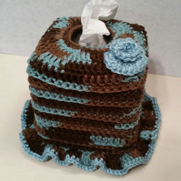 Crochet Square Tissue Box Cover, home accents, home decor