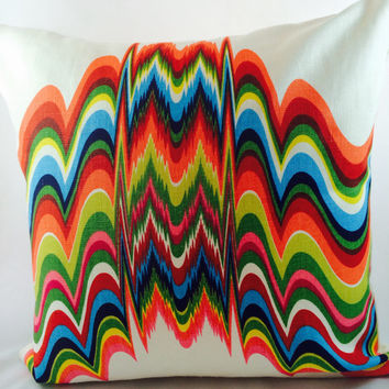 Jonathan Adler - Kravet Pillow Cover - Distorted-abstract Prism Print - Red,Orange,Green.Navy,Yellow,light blue, Coral and White