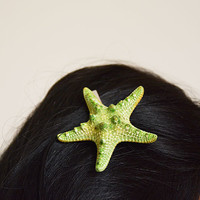 Starfish Hair Clip, Starfish Hair Accessories, Green Starfish Hair, Beach Hair, Mermaid Hair, Beach Weddings, Starfish Hair Accessories