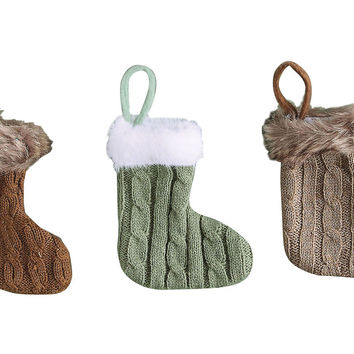 "Asst. of 3 8"" Wool Stocking Ornaments, Ornaments"