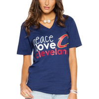 Cleveland Cavaliers Women's Peace Love Team V-Neck T-Shirt – Navy Blue