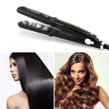 Professional 450F Ceramic Vapor Steam Hair Straightener with Argan Oil Infusion Steam Flat Iron Ceramic Vapor Fast Heating Iron