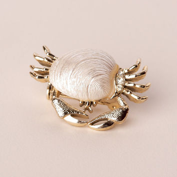 Vintage Mother of Pearl Crab Brooch