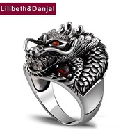 100% Real 925 Sterling Silver Ring Thai Silver Powerful Dragon for Men Ring Jewelry Vintage Mens Rings 2017 Fine Jewelry ZR2