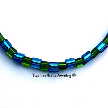 Blue And Green Beaded Anklet - Glass Cube Beads - Ankle Bracelet - Gift For Her - Blue Anklet - Bright Aqua - Dark Green Anklet