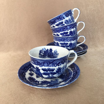 Blue Willow Tea Set, Black Stamp Japan, Vintage China, Cups and Saucers, Asian Chinoiserie, Blue and White, Pagoda Design, Traditional Asian