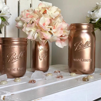 Blush Dorm Decor - Mason jar Centerpieces - Office and Desk Storage - Gold Wedding Decorations - Graduation Gift-home - Fall Wedding Decor