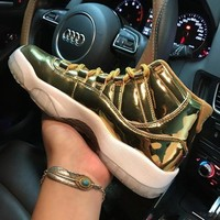 Air Jordan 11 Retro Gold 378037-103 XI Gold Red Men's Height Increasing Shoes Fashion Shoes Top Quality With Original Box