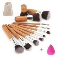 PEAP57D 2017 New Makeup Set Professional Bamboo Handle Makeup Brushes Eyeshadow Concealer Blush Foundation Brush + Blending Sponges Puff