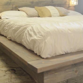 Wood Platform Bed Frame with White Lighted Headboard-Salta