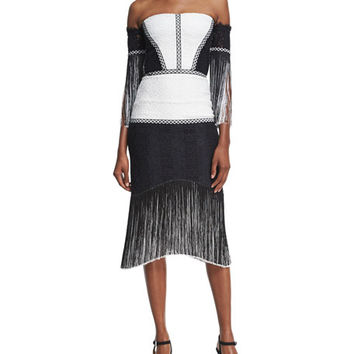 Alexis Antoinette Embroidered Fringed Midi Dress, Black/White