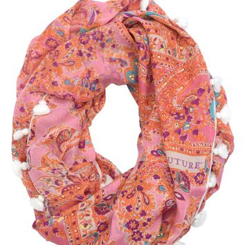 Paisley Infinity Scarf With Tassel Trim by Juicy Couture